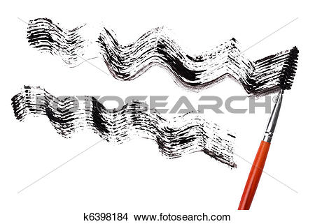 Stock Photo of Stroke of black mascara with applicator brush.