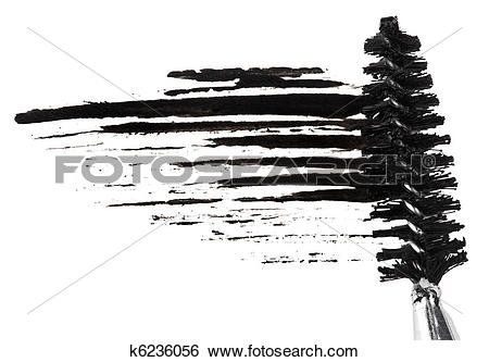 Stock Images of Stroke of black mascara with applicator brush.