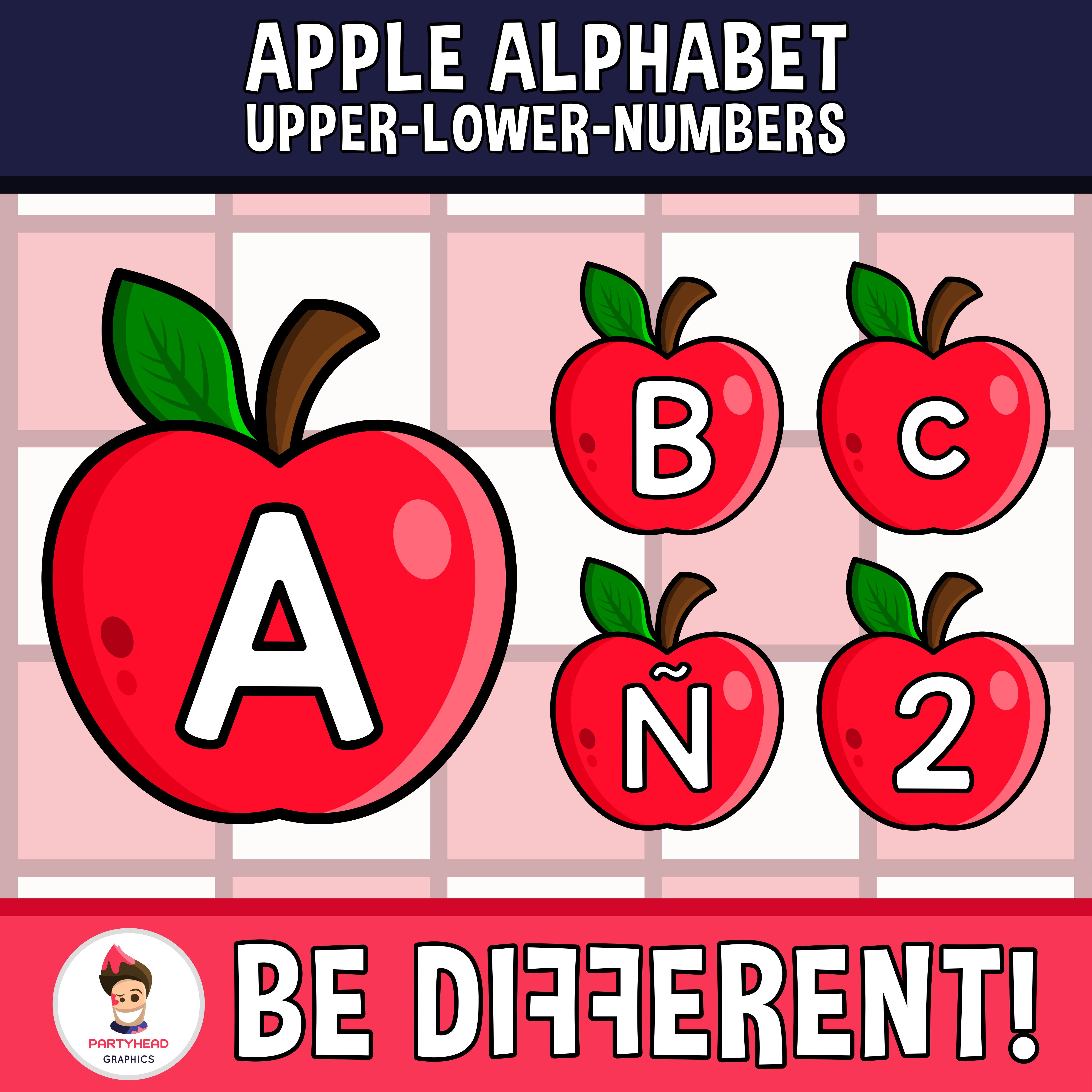 Apple Alphabet Clipart Letters ENG..