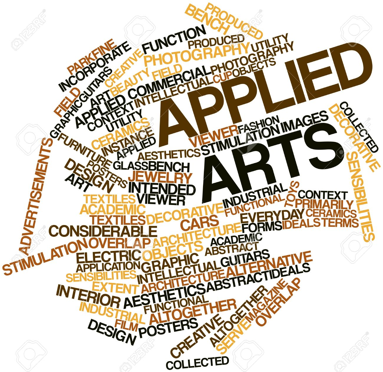 Abstract Word Cloud For Applied Arts With Related Tags And Terms.