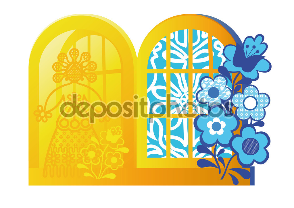 Greeting card with elements of folk decorative and applied art.
