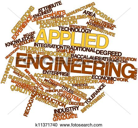 Stock Illustrations of Word cloud for Applied engineering.