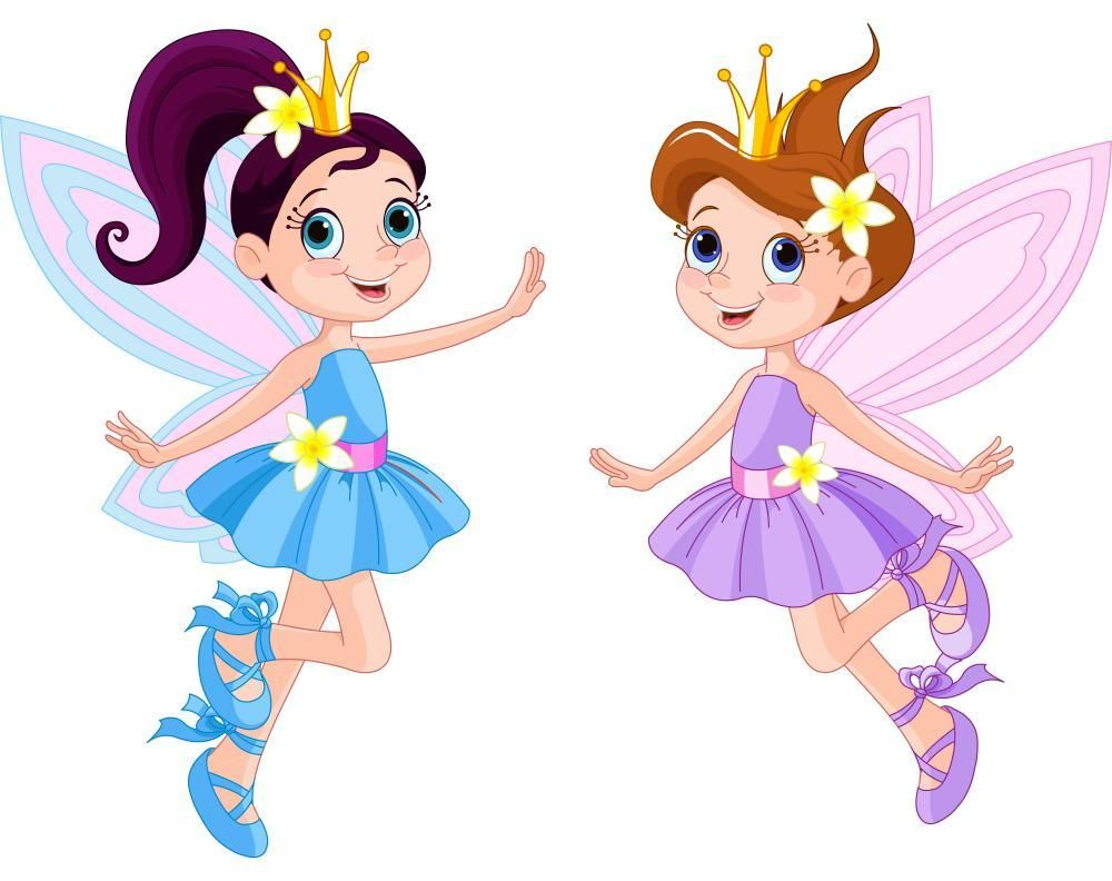 Two Cute Fairies Wall Decal.