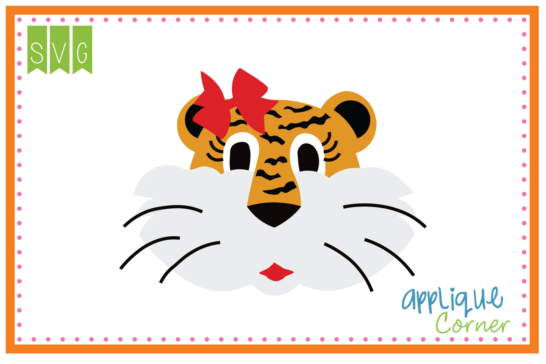 Applique Corner Tiger Head with Stripes Girl Cuttable SVG Clipart.
