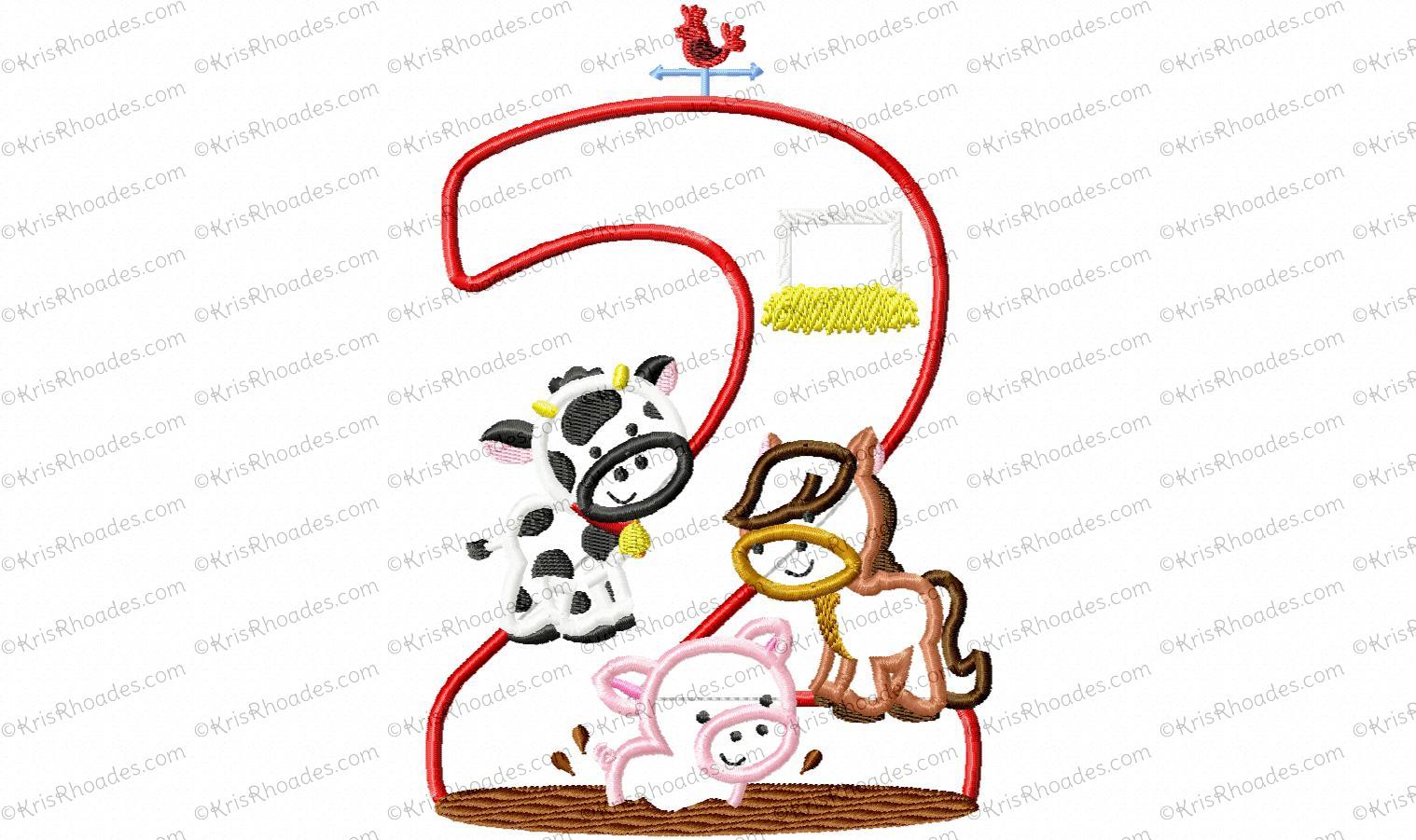 Farm Animal 2nd Birthday Applique Embroidery Design.