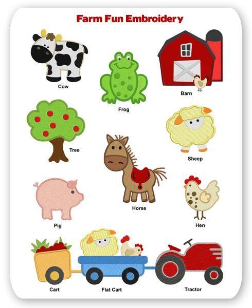 Farm Fun Embroidery Designs Animal Cow Horse Pig Frog Barn.