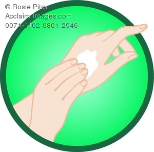 Clipart Image of Woman Applying Hand Lotion To Her Hands.