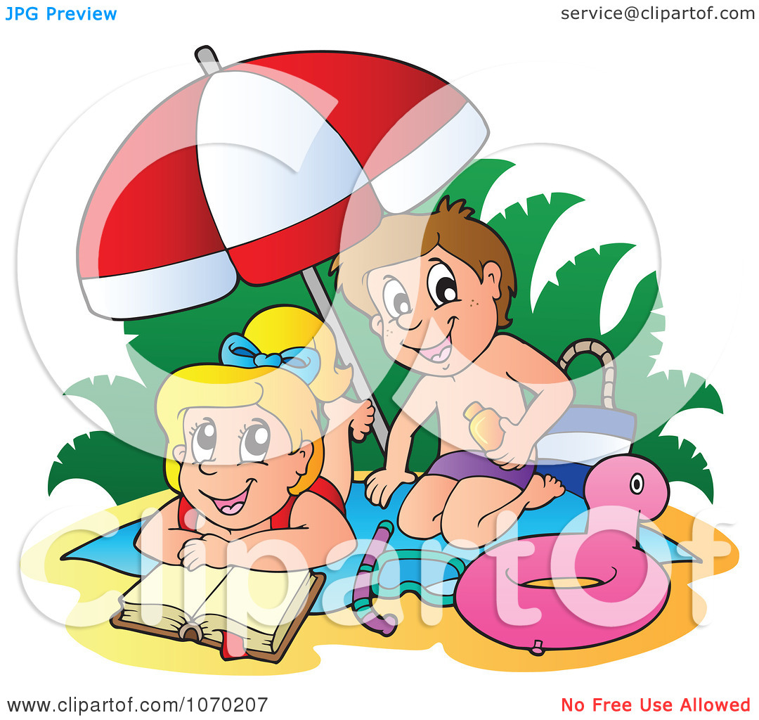 Clipart Boy Applying Sun Block On A Girl At The Beach.