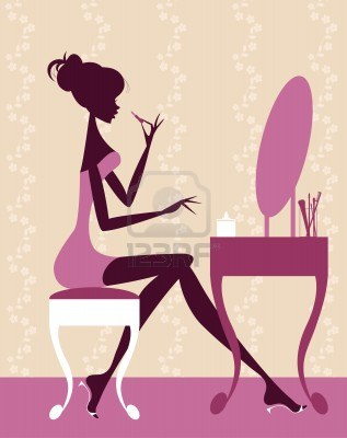 Woman putting on make up clipart.