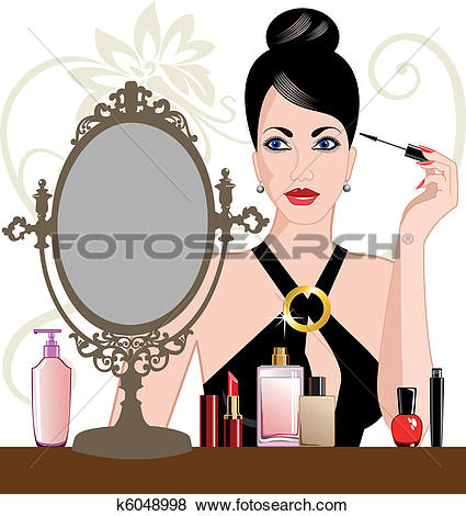 Clip Art of Glamour woman applying makeup k6048998.