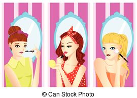 Applying makeup Stock Illustrations. 1,121 Applying makeup clip.