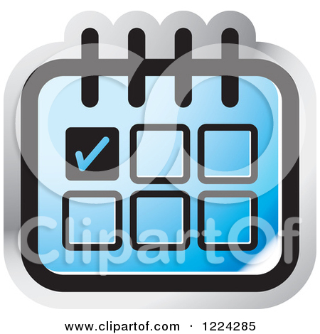 Clipart of a Blue Appointment Calendar Icon.