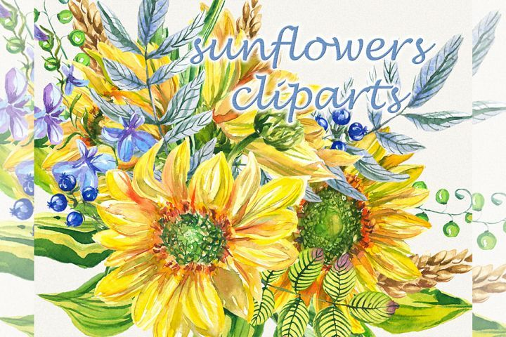 Sunflower clipart, sunflower watercolor clipart, floral.