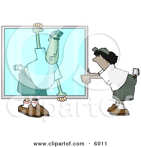 Apprentice Glazier Carrying a Big Glass Window Clipart Picture by.