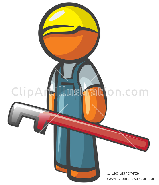 ClipArt Illustration Orange Man Accountant Holding Clipboard.