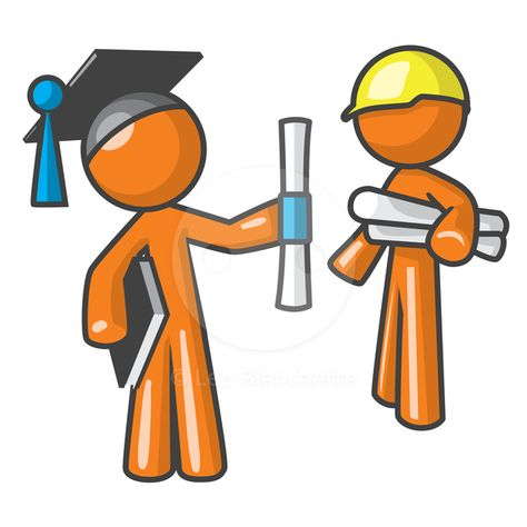 ClipArt Illustration of Orange Man Apprentice Graduate and.