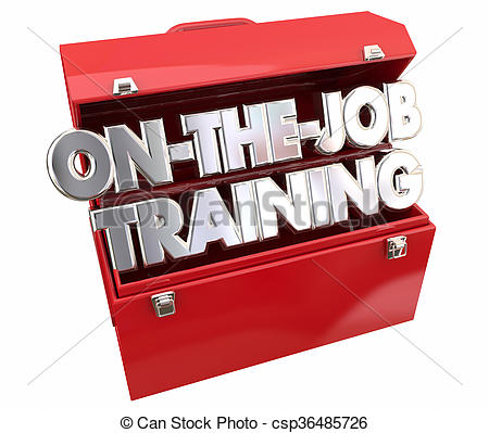Clip Art of On the Job Training Tools Toolbox Learning Career.