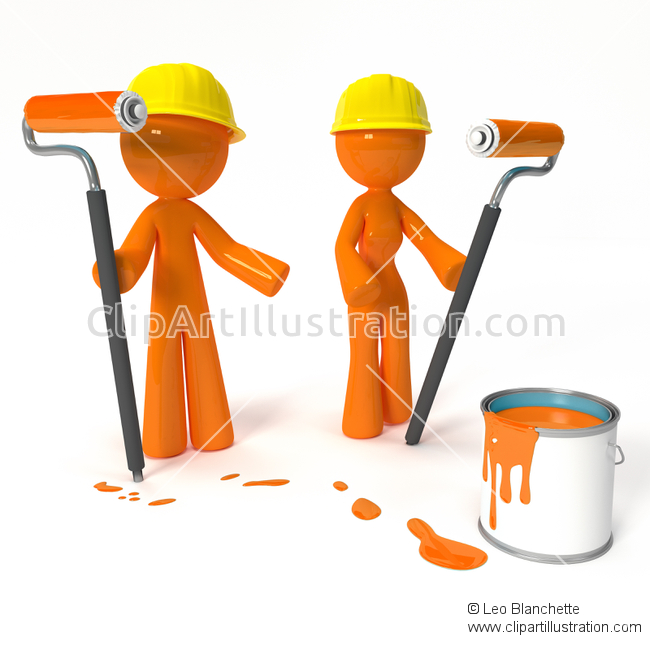 ClipArt Illustration of Orange Man Apprentice Graduate and Trained.