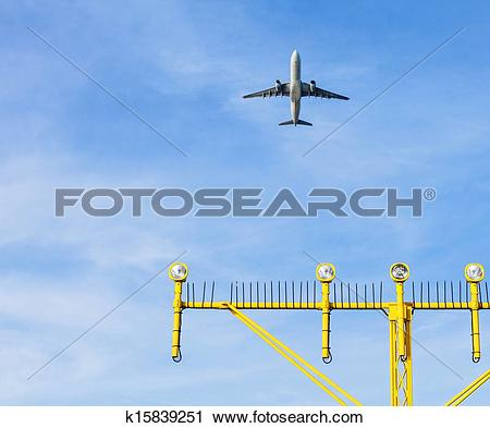 Stock Photography of Airport approach landing direction light with.