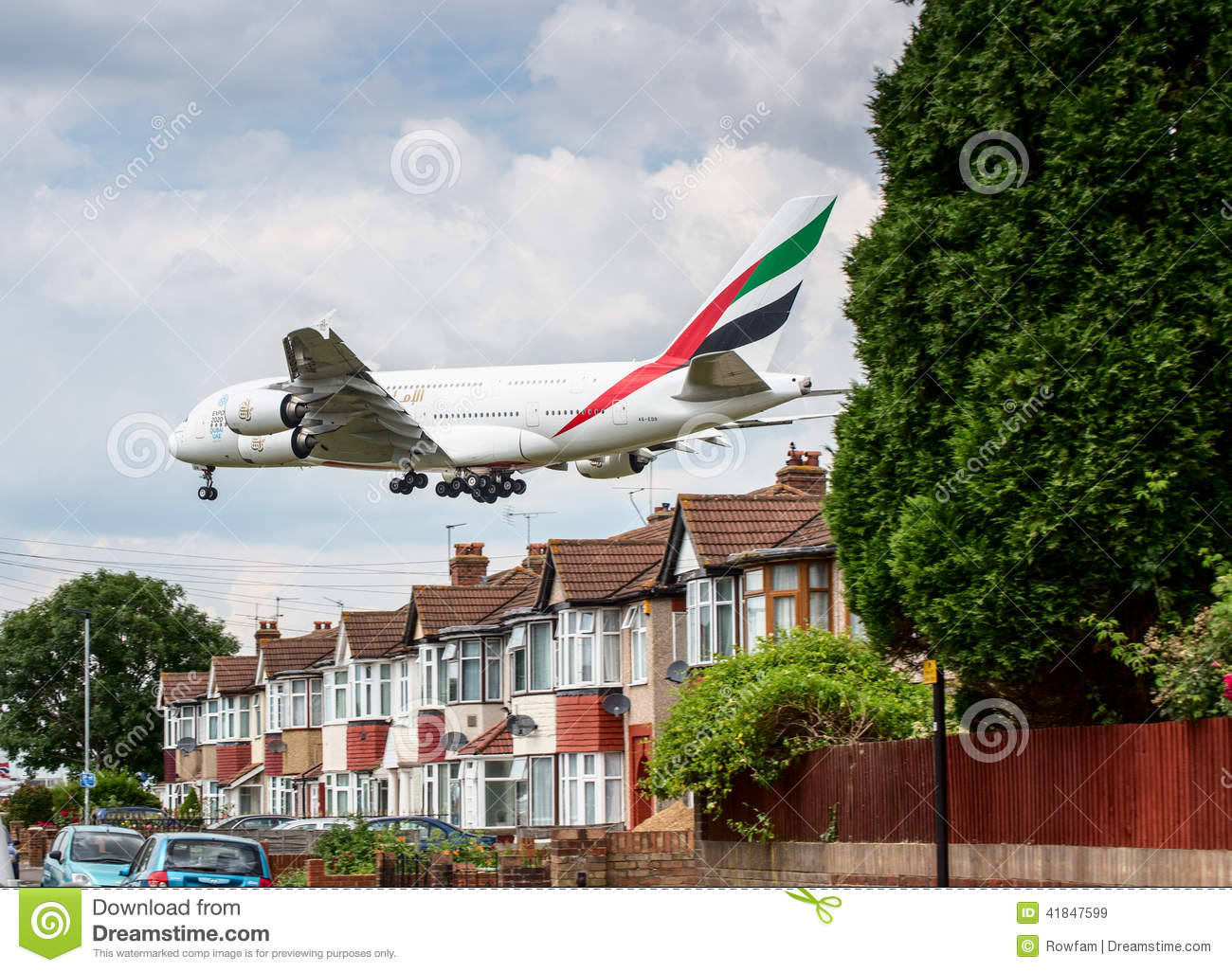 Emirates Airbus A380 Plane Landing Over Houses Editorial Stock.