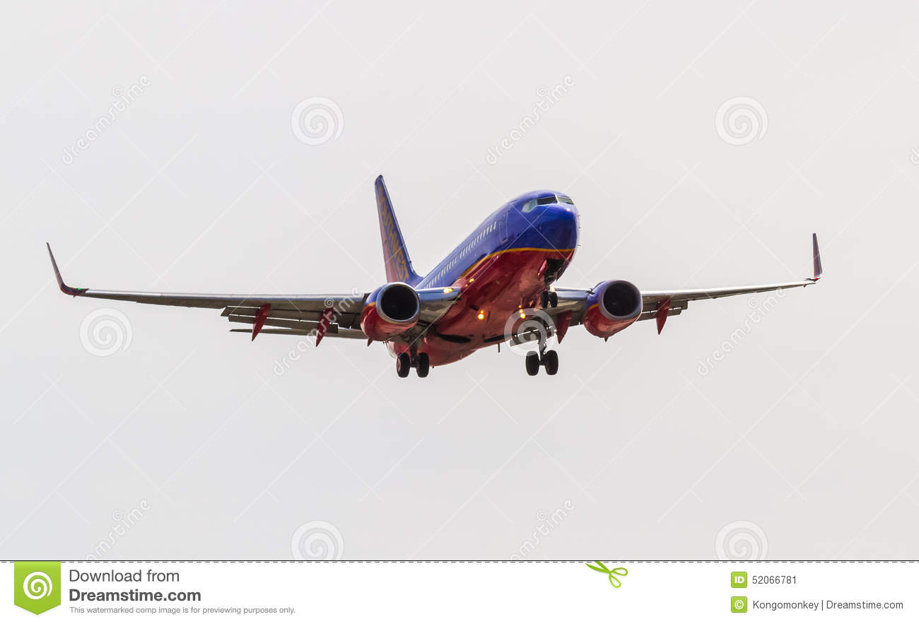 Southwest Airlines Plane On Final Approach Editorial Photo.