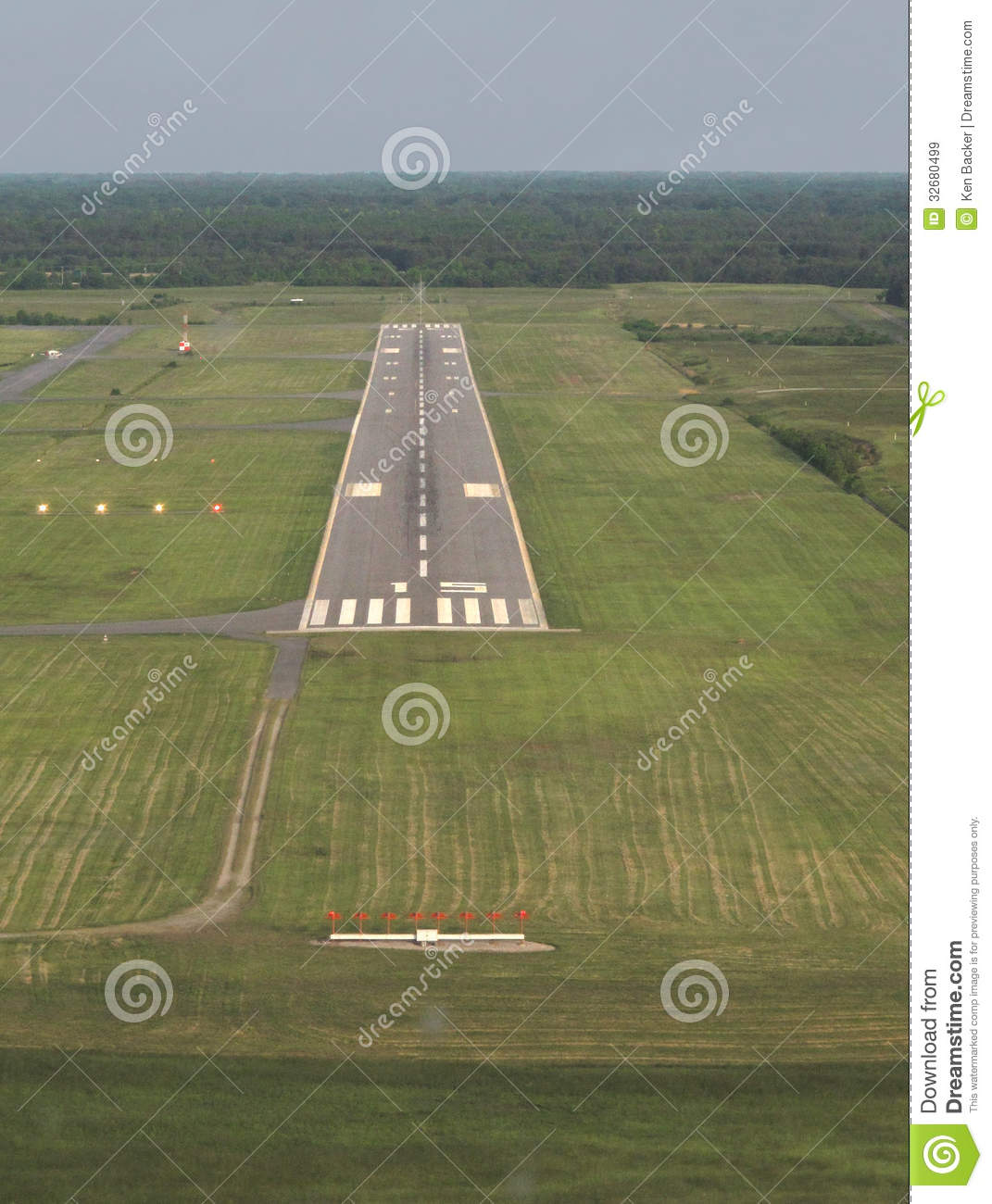 Aerial View Runway At Dusk. Royalty Free Stock Images.