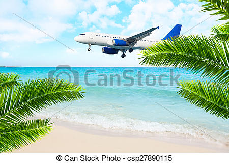Clipart of Jet airplane landing over the sea beach. Final approach.