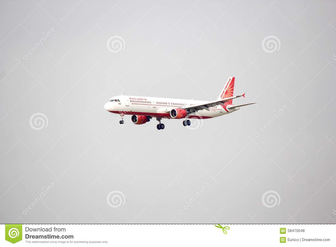 An Air India Aircraft On Its Landing Approach Editorial Stock.