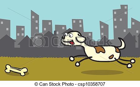 Vector Clipart of Happy dog like bone.