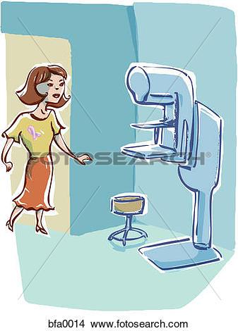 Drawings of Woman approaching a mammography machine bfa0014.