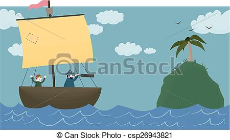 Vector Illustration of Land ahoy!.