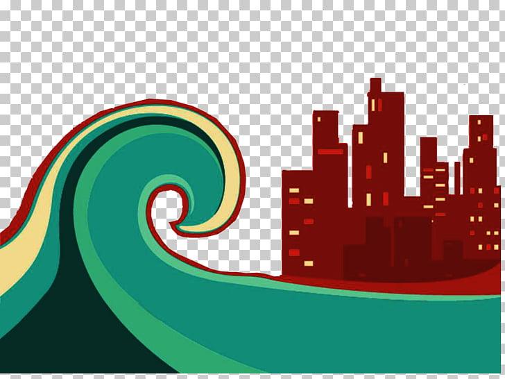 Flood Tsunami Illustration, Decorative illustration flood.