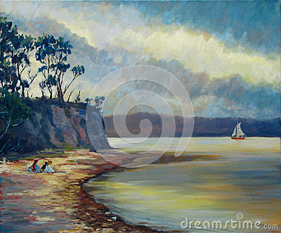 Tranquil Waters Sail Approaching Storm Stock Illustrations.