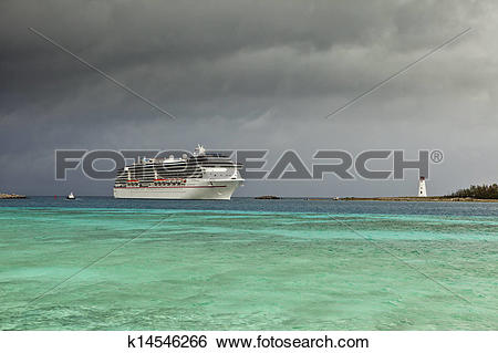 Stock Images of cruise ship and approaching storm k14546266.