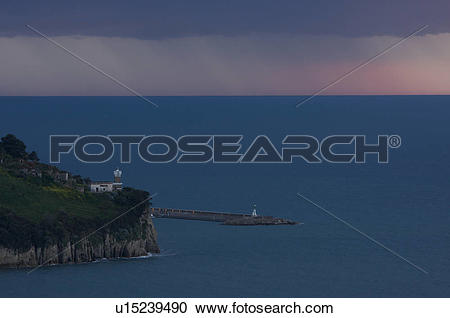 Stock Photography of Agropoli lighthouse and harbour in.