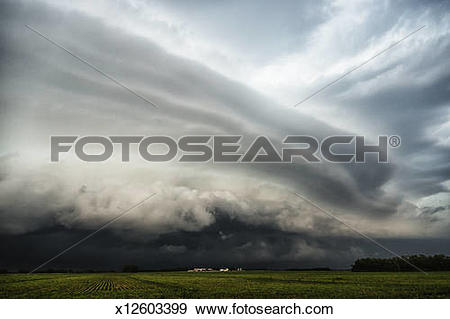 Stock Photograph of Wall cloud at front of an approaching storm.