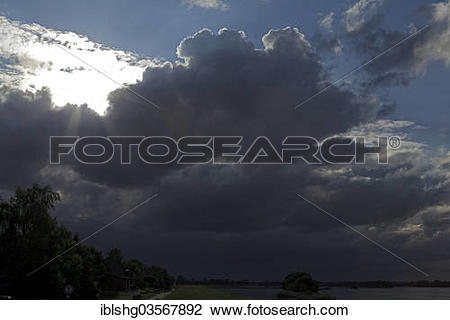 """Stock Photo of """"Approaching storm over the Elbe River, near Tespe."""