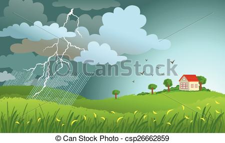 Clipart Vector of Storm is coming.