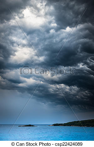 Pictures of approaching storm weather over the sea and small.