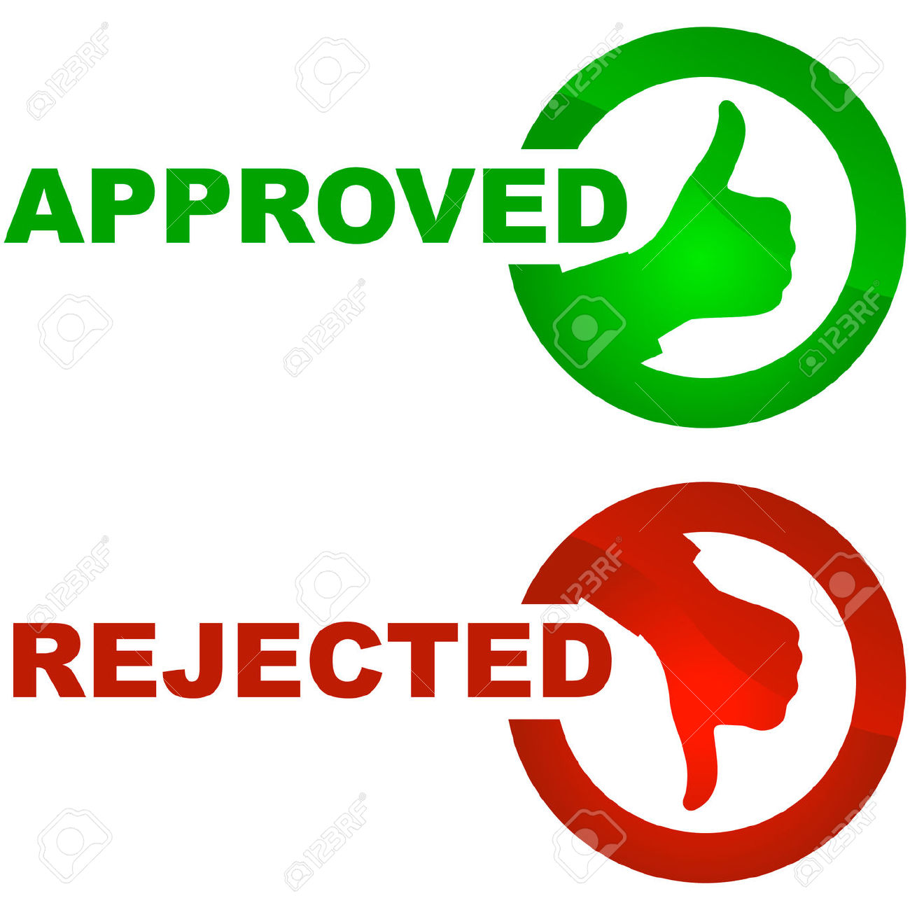 Approved and rejected icons..