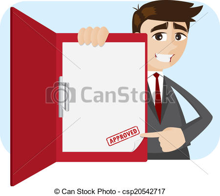 Vector Clip Art of cartoon businessman showing approved document.