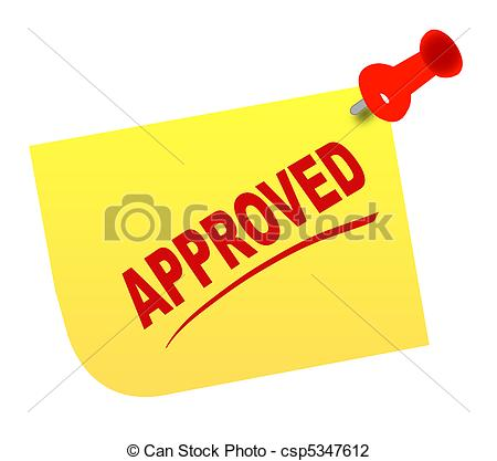 Clip Art of thumb tacked note with approved.