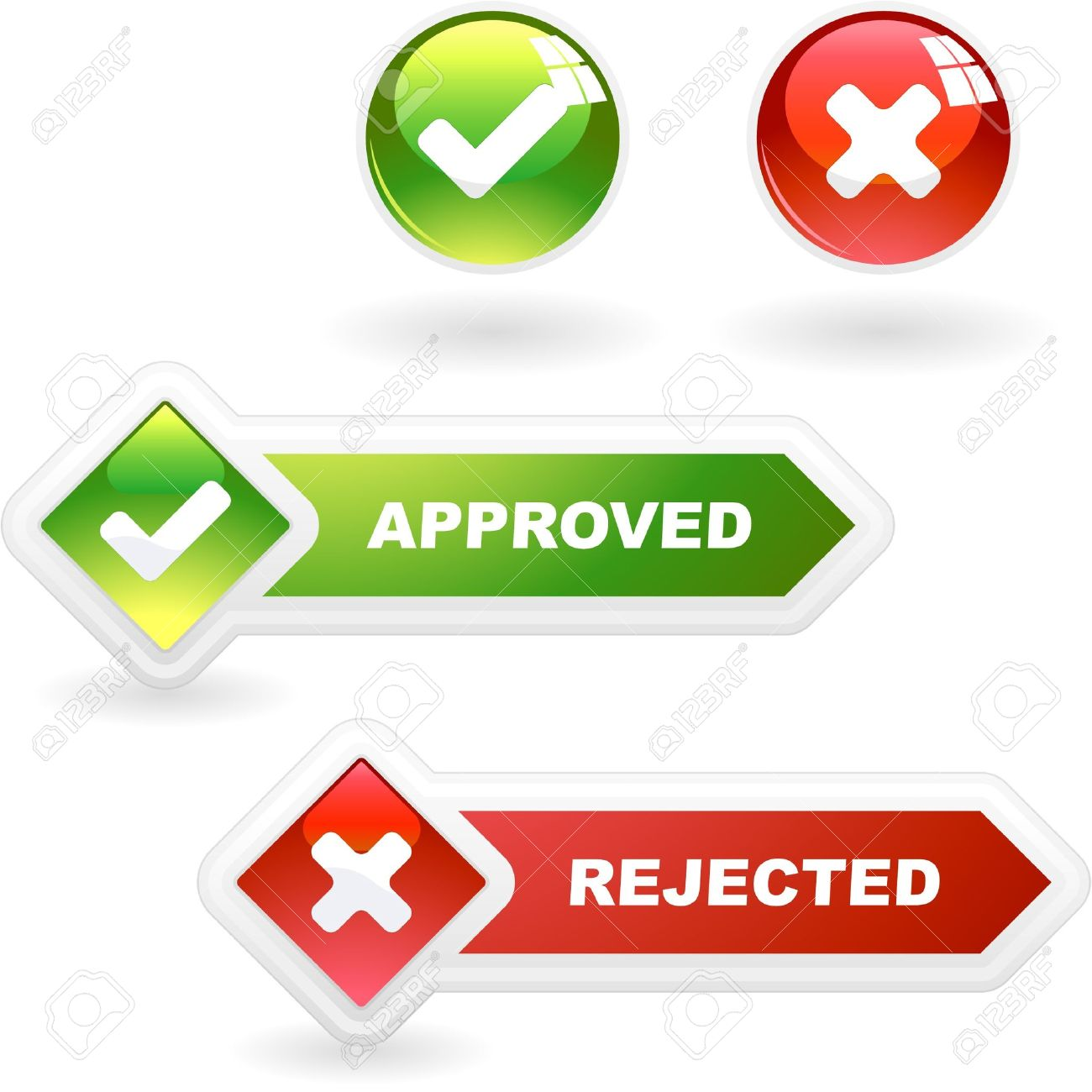 Approved And Rejected Button Set. Royalty Free Cliparts, Vectors.