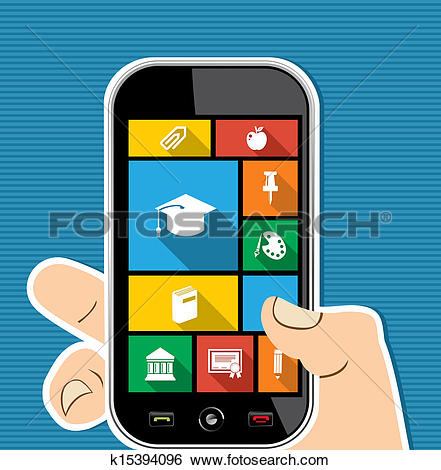 Clipart of Human hand mobile colorful Travel UI apps flat icons.
