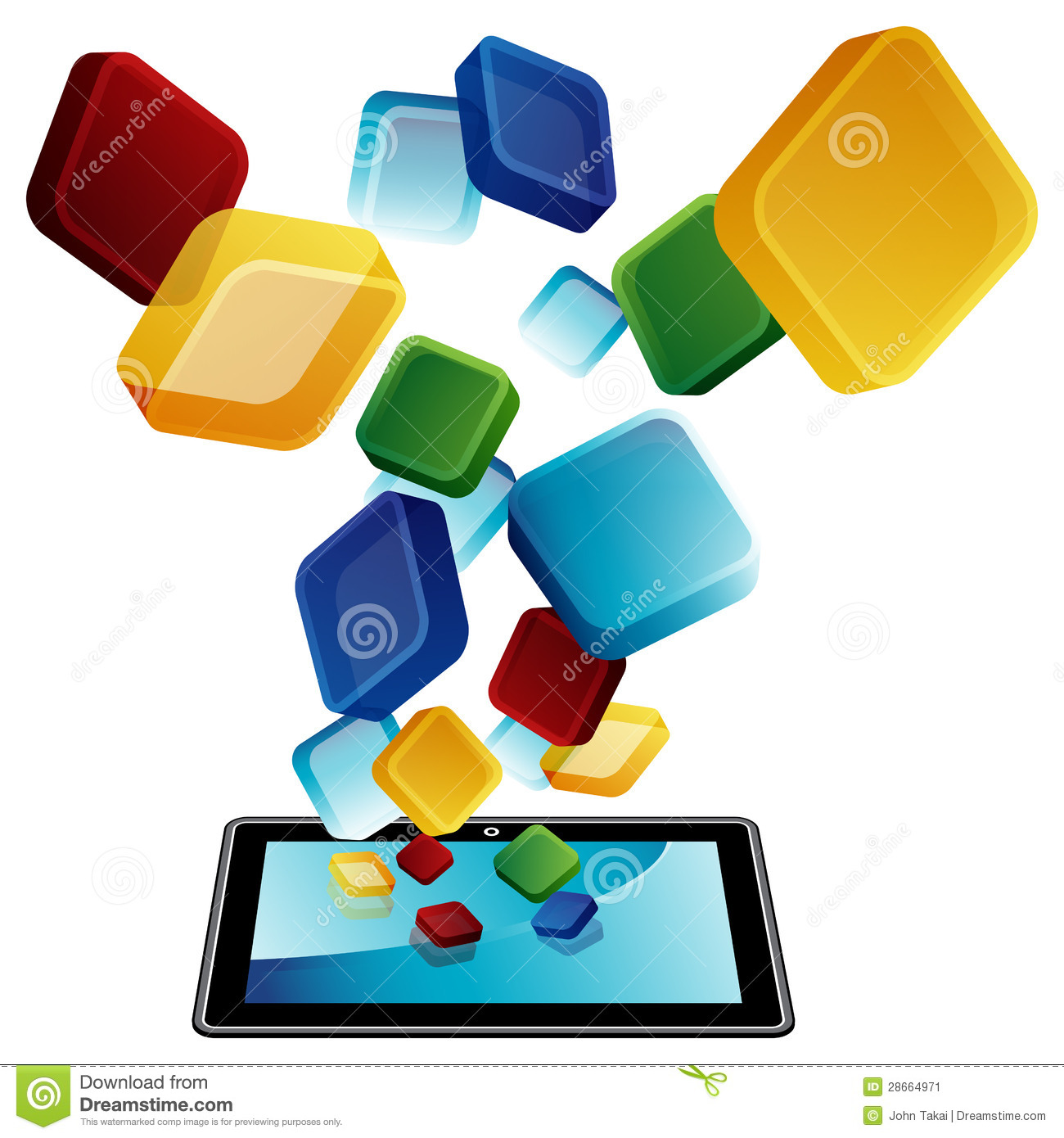 Tablet Apps Stock Image.