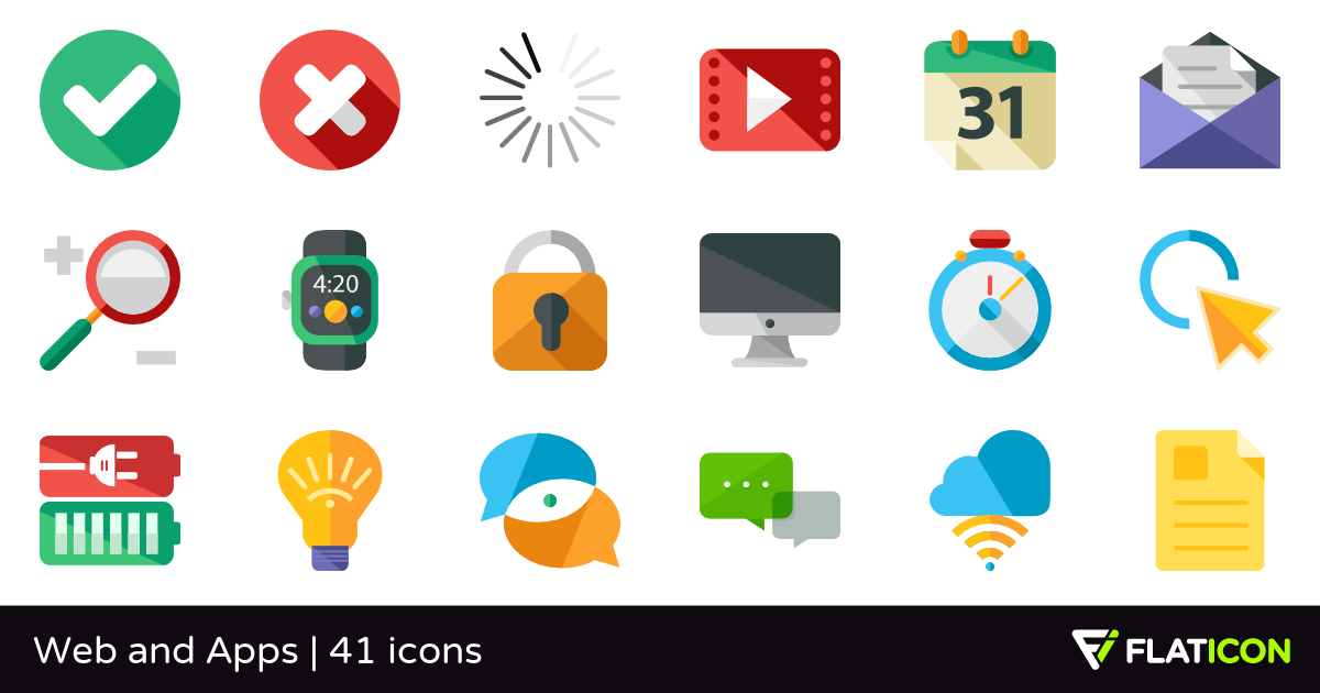 Web and Apps 41 free icons (SVG, EPS, PSD, PNG files).