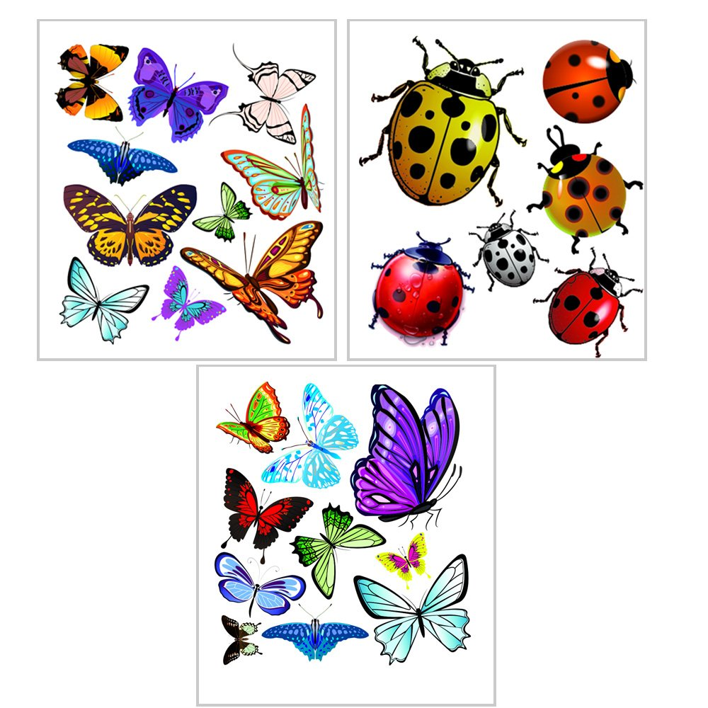 1797 Car Stickers Decals Butterfly Ladybug 3D Tattoo Hood Front Cover  Accessories Waterproof Decorations Vinyl 8.6\