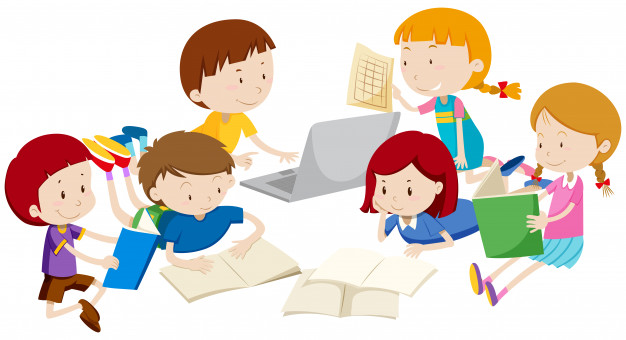 Grupo de niños aprendiendo.