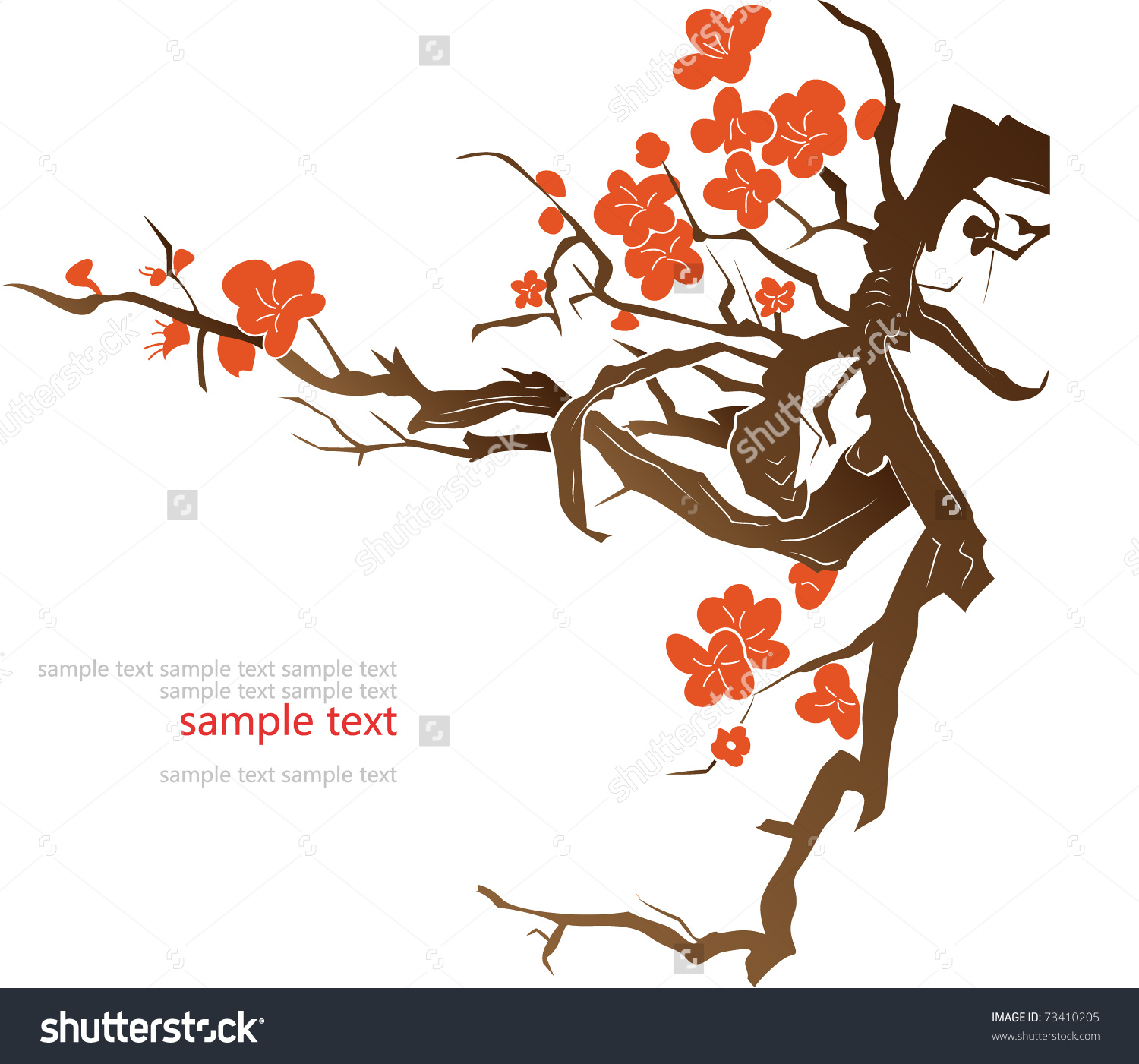 Plum Blossom Vector Background Stock Vector 73410205.