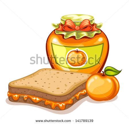Apricot Jam And Jelly Sandwich Stock Vector Illustration 141789139.